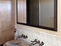 Natural Wood Bathroom Framed Mirror for Austin Texas