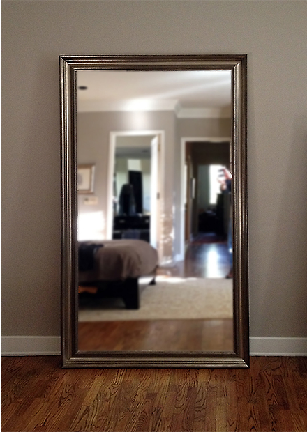 Silver framed floor mirror for Framed floor mirror